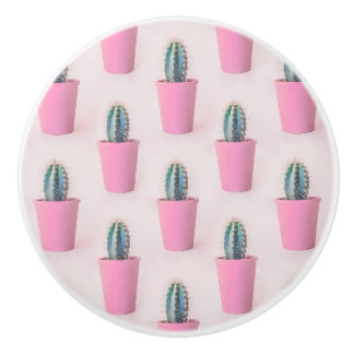 Cacuts in pink pot ceramic knob