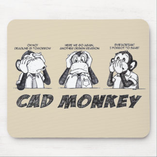 Cad Monkey Speak No Evil Hear No Evil See No Evil Mouse Pad