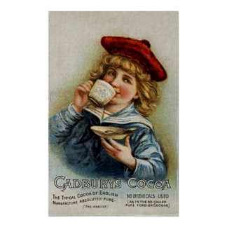 Cadbury's ~ Cocoa Drinking Chocolate ~ UK 1890 Poster