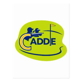 Caddie and Golfer Golf Course Icon Postcard