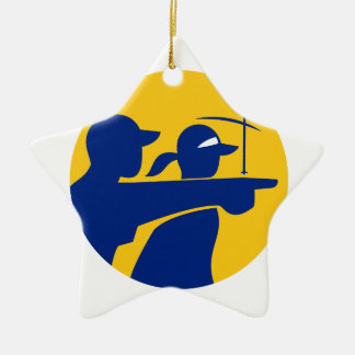 Caddie and Golfer Icon Ceramic Ornament