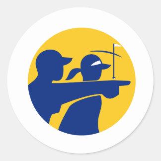 Caddie and Golfer Icon Classic Round Sticker