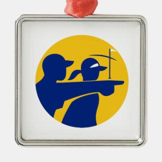 Caddie and Golfer Icon Metal Ornament