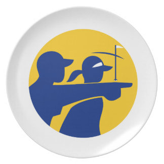 Caddie and Golfer Icon Plate