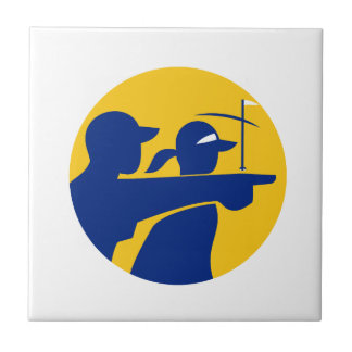 Caddie and Golfer Icon Tile