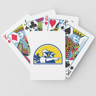 Caddie and Golfer Pointing Retro Bicycle Playing Cards