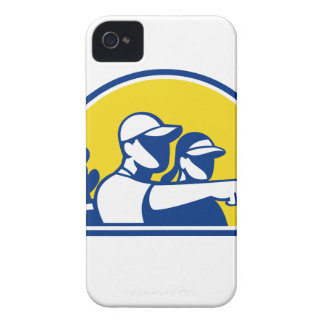 Caddie and Golfer Pointing Retro iPhone 4 Case-Mate Case