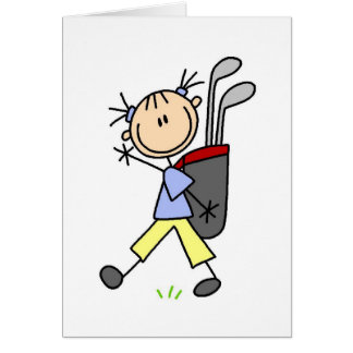 Caddy Carrying The Golf Bag Card
