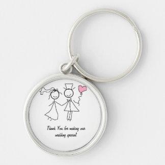 Cadeau de faveur de mariage porte-clé rond argenté