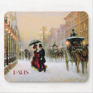 Cadeau parisien vintage Mousepads de Noël de style Tapis De Souris