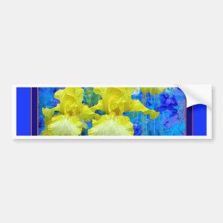 Cadeaux bleus azurés de jardin d'iris jaune par autocollant de voiture