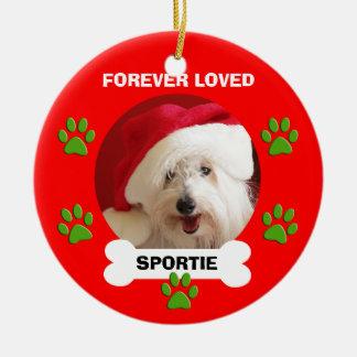 Cadeaux commémoratifs d'ornement de Noël de chien Ornement Rond En Céramique