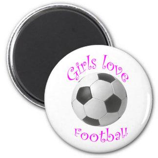 Cadeaux d'art du football d'amour de filles magnet rond 8 cm