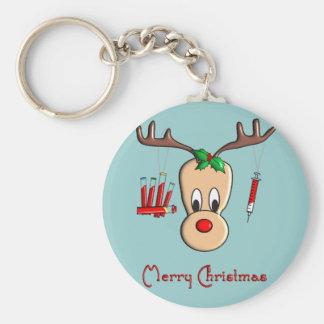 Cadeaux de Noël de renne de Phlebotomist Porte-clé Rond