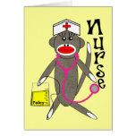 Cadeaux de singe de chaussette d'infirmière carte