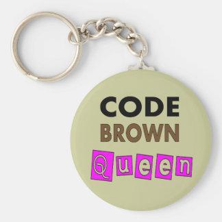 """Cadeaux drôles de """"REINE de BROWN de CODE"""" d'infir Porte-clés"""