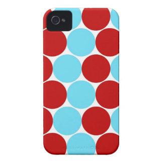 Cadeaux rouges de motif de pois de turquoise coques Case-Mate iPhone 4