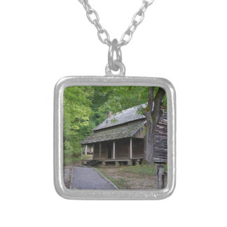 Cades Cove Cabin Silver Plated Necklace