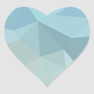 Cadet Blue Orange Abstract Low Polygon Background Heart Sticker