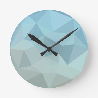 Cadet Blue Orange Abstract Low Polygon Background Round Clock