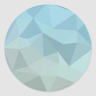 Cadet Blue Orange Abstract Low Polygon Background Round Sticker