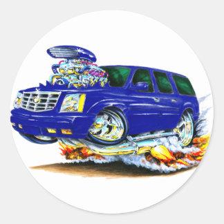 Cadillac Escalade Blue Truck Round Sticker