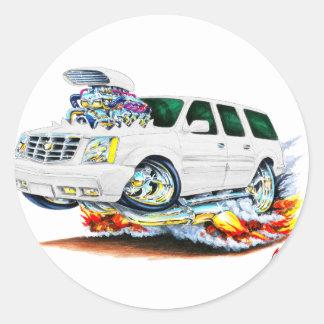 Cadillac Escalade White Truck Round Sticker