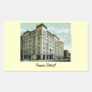 Cadillac Hotel, Detroit 1907 Vintage Rectangular Sticker