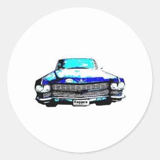 cadillac raggare car round sticker