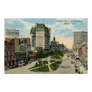 Cadillac Square, Detroit Michigan, 1915 Vintage Poster