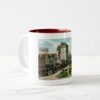 Cadillac Square, Detroit Michigan, 1915 Vintage Two-Tone Coffee Mug