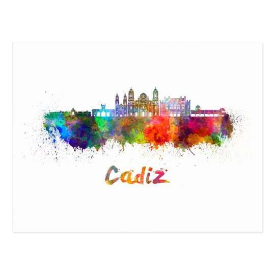 Cadiz skyline in watercolor postcard
