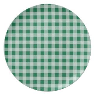 Cadmium Green Gingham; Checkered Dinner Plate