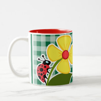 Cadmium Green Gingham; Ladybug Two-Tone Coffee Mug