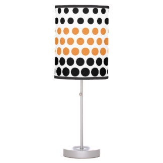 Cadmium Orange and Black Polka Dot Table Lamps