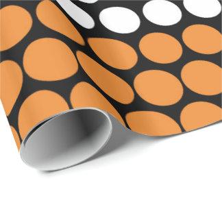 Cadmium Orange and White Polka Dot