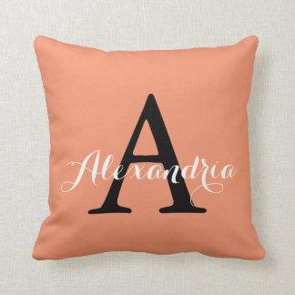 Cadmium Orange Melon Trendy Solid Color Monogram Throw Pillow
