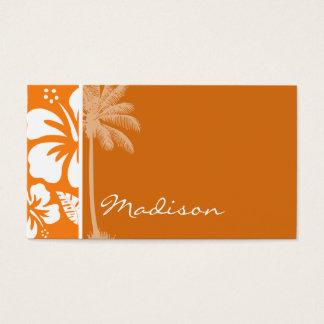 Cadmium Orange Tropical Hibiscus; Palm Business Card