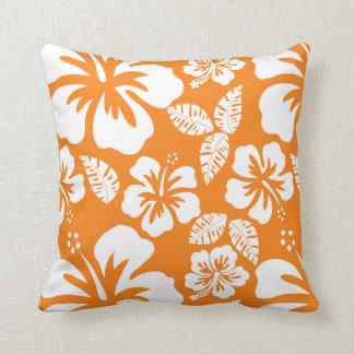 Cadmium Orange Tropical Hibiscus Throw Pillow