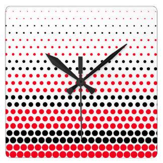 Cadmium Red and Black Polka Dot Wall Clocks