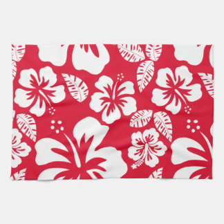 Cadmium Red Tropical Hibiscus Flowers Kitchen Towel