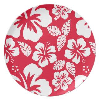 Cadmium Red Tropical Hibiscus Flowers Plates