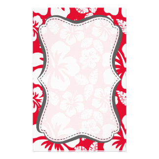 Cadmium Red Tropical Hibiscus Flowers Custom Stationery