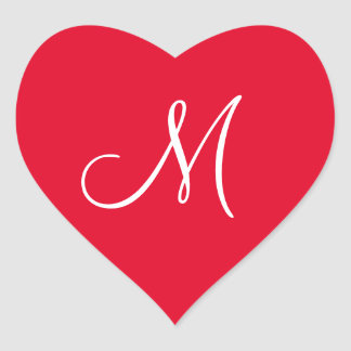 Cadmium Red Your Own Monogrammed Weddings Heart Sticker