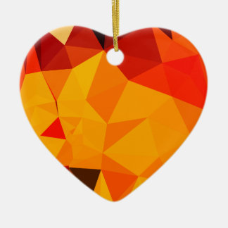 Cadmium Yellow Abstract Low Polygon Background Ceramic Heart Ornament