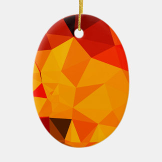 Cadmium Yellow Abstract Low Polygon Background Ceramic Oval Ornament