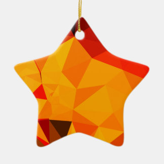 Cadmium Yellow Abstract Low Polygon Background Ceramic Star Ornament