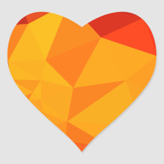 Cadmium Yellow Abstract Low Polygon Background Heart Sticker