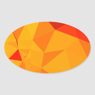 Cadmium Yellow Abstract Low Polygon Background Oval Sticker