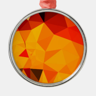 Cadmium Yellow Abstract Low Polygon Background Silver-Colored Round Ornament